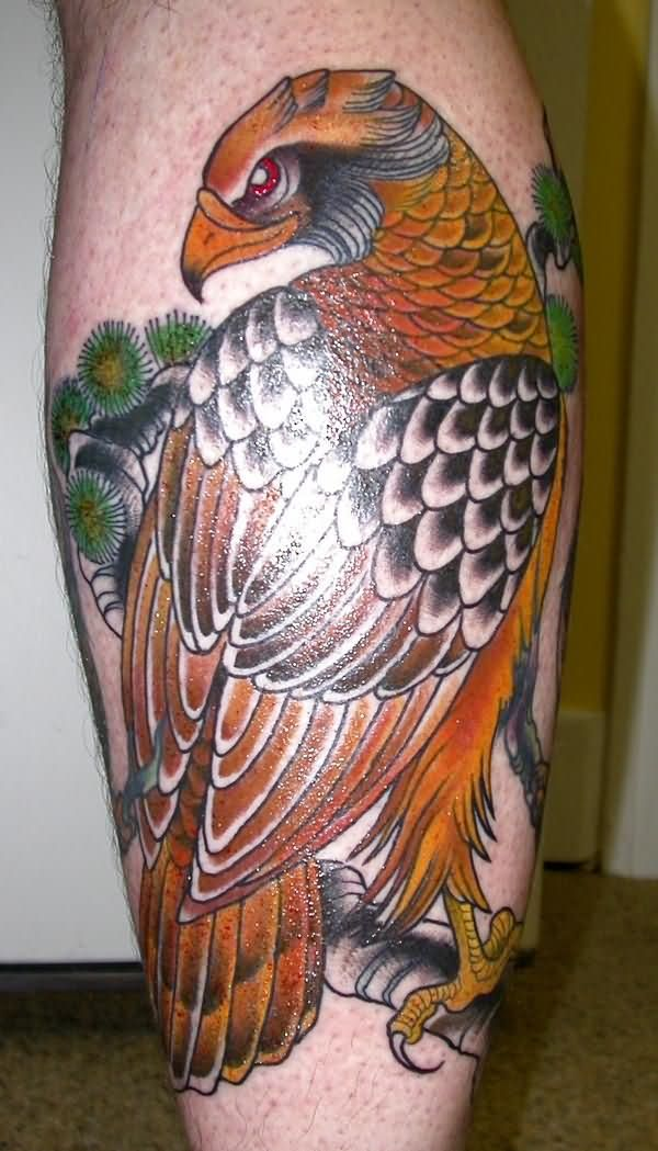 Traditional Hawk Tattoo On Leg Calf