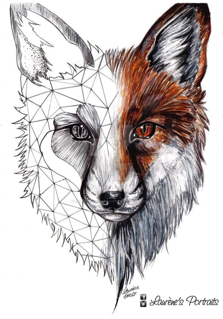 Unique Fox Head Tattoo Design