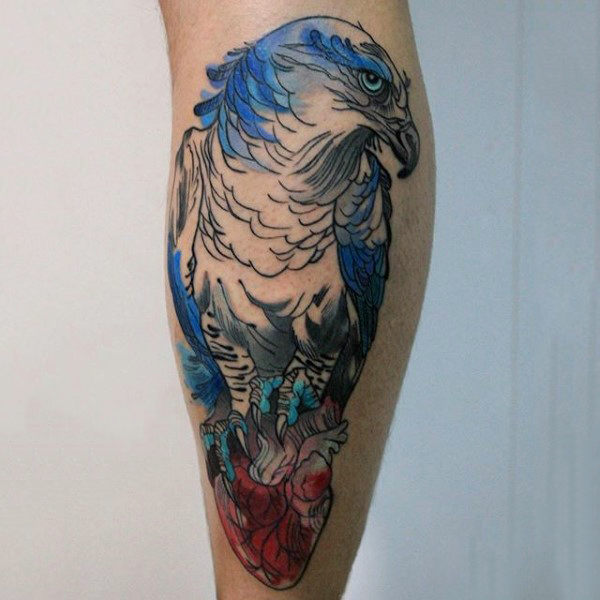 Tattoo Quotes Hawk: Watercolor Hawk Tattoo On Leg Calf