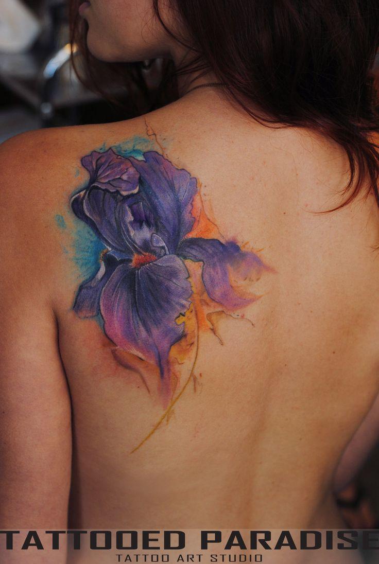 Watercolor Iris Flower Tattoo On Girl Left Back Shoulder