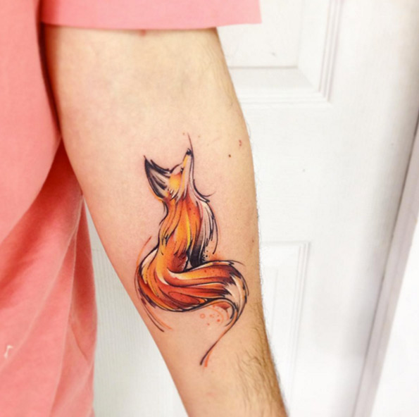 Wonderful Fox Tattoo On Left Forearm