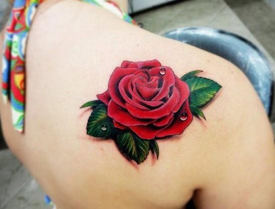 3d red rose tattoo on right back shoulder urmus Images