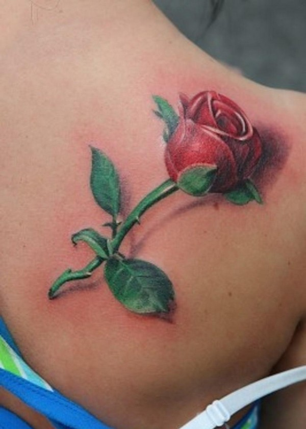 3d rose bud tattoo on right back shoulder urmus Image collections