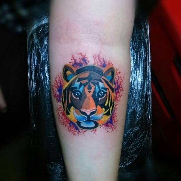 Abstract Watercolor Tiger Head Tattoo On Arm