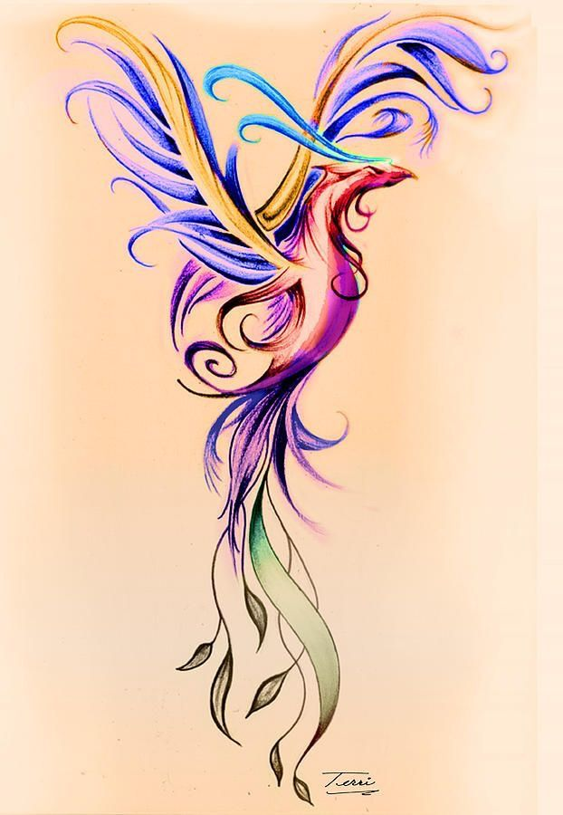 Amazing Colorful Flying Phoenix Tattoo Design