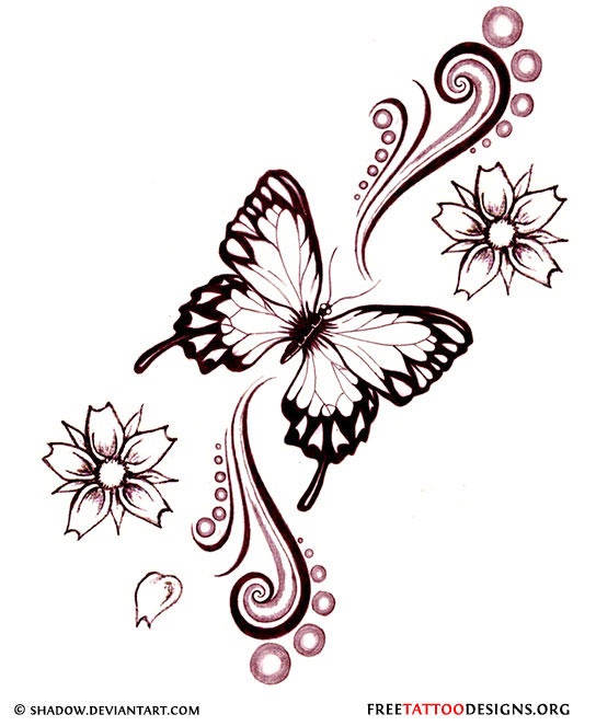 Amazing Flowers And Butterfly Tattoo Design