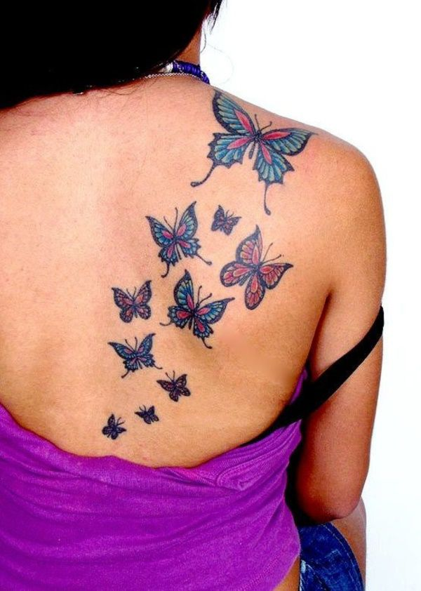 Amazing Flying Butterflies Tattoos On Right Back Shoulder