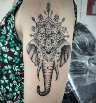 Amazing Mandala Flower With Elephant Head Tattoo On Left Shoulder