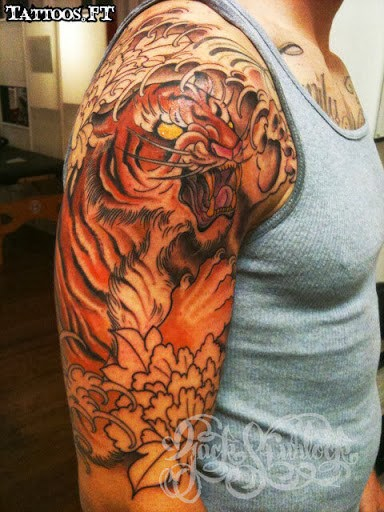 Amazing Tiger Japanese Tiger Tattoo On Man Right Half Sleeve