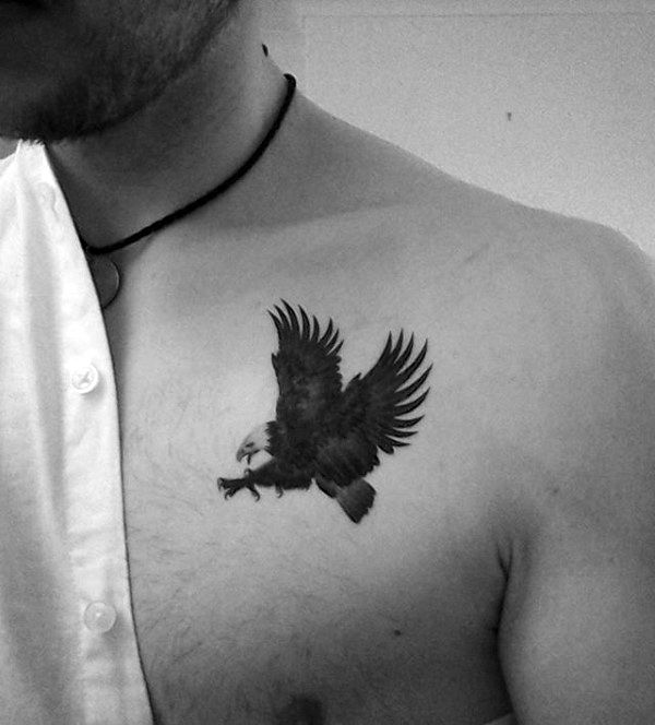 Amazing White And Black Flying Eagle Tattoo