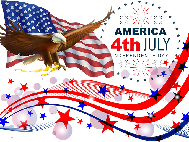 America Independence Day 4th July - US Flag and Flying Eagle Graphic