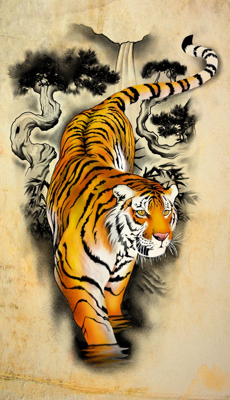 asian tiger walking in water tattoo design by badfish1111. Black Bedroom Furniture Sets. Home Design Ideas