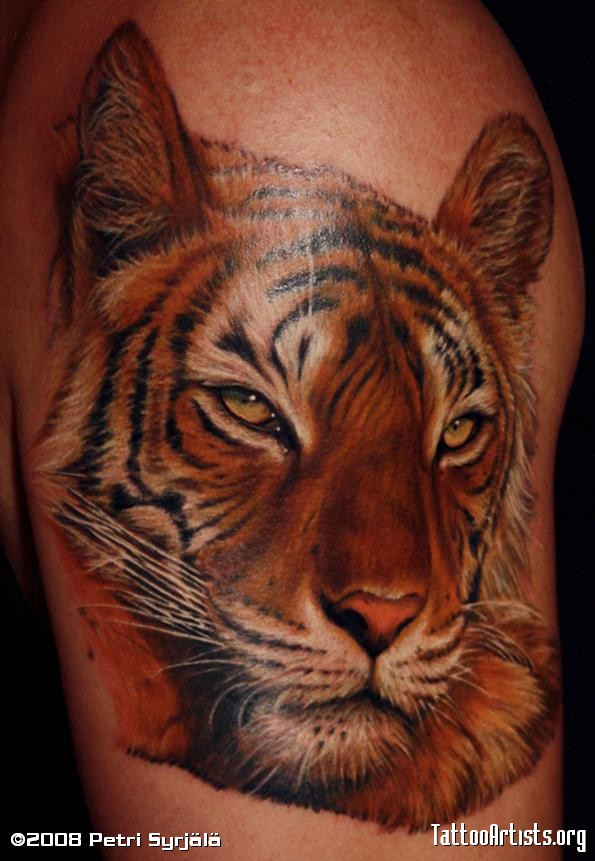 Awesome Colored Tiger Head Tattoo On Shoulder