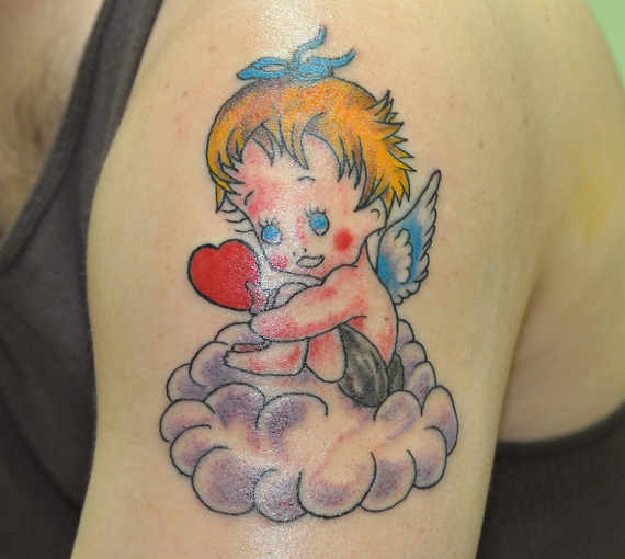 Baby Angel On Clouds Tattoo On arm
