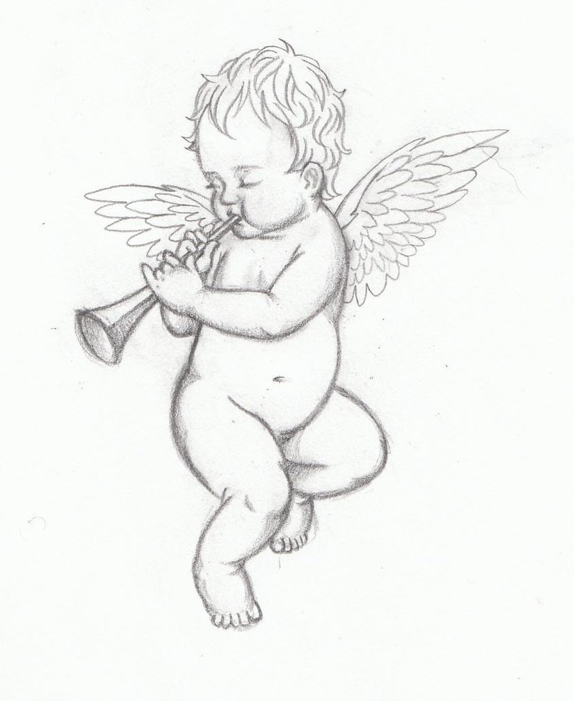 Baby angel with trumpet tattoo design