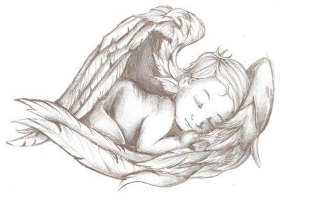 Baby sleeping in wings tattoo design for memory