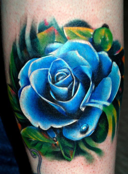 2185ea069 Beautiful Blue Rose Tattoo Image