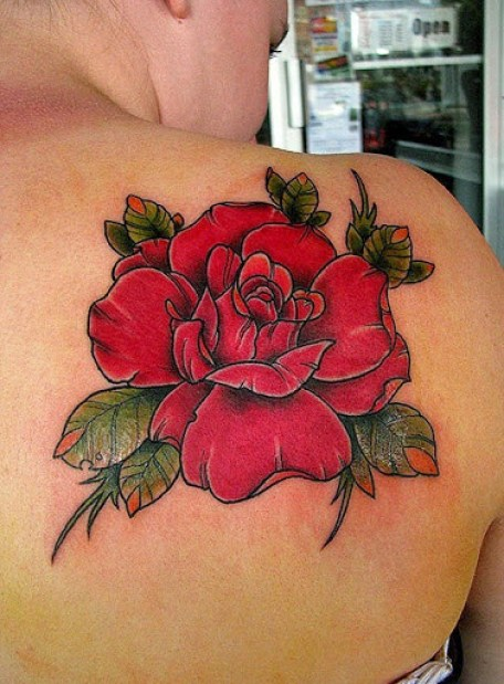 Beautiful red rose tattoo on right back shoulder for Rose tattoo on back shoulder