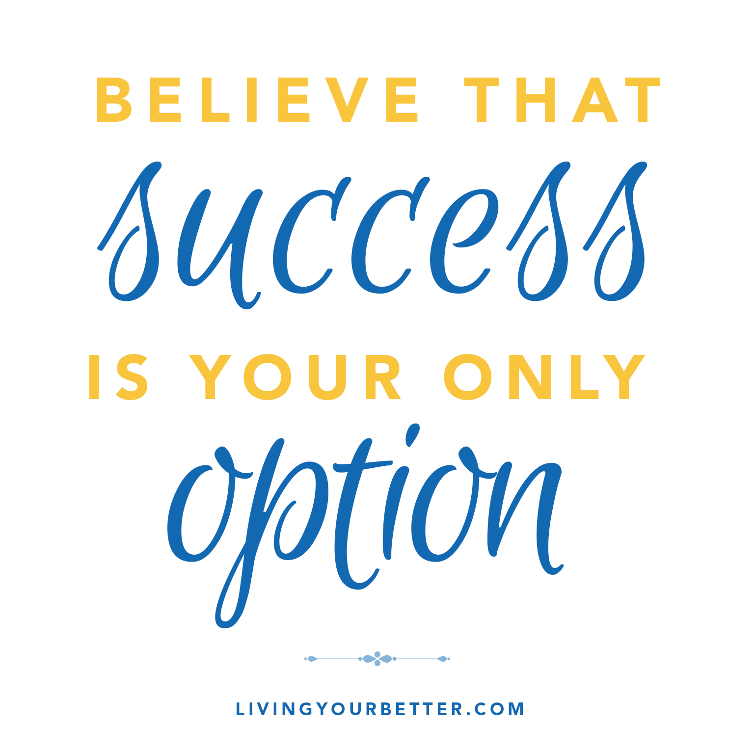 Believe that success if your only option.