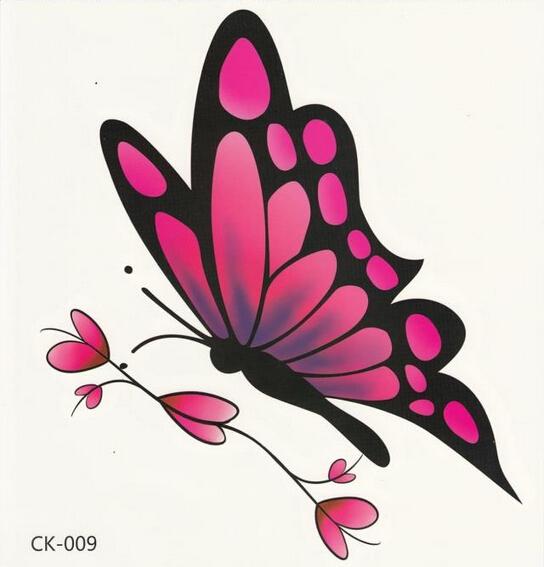 black and pink ink flying butterfly tattoo design. Black Bedroom Furniture Sets. Home Design Ideas