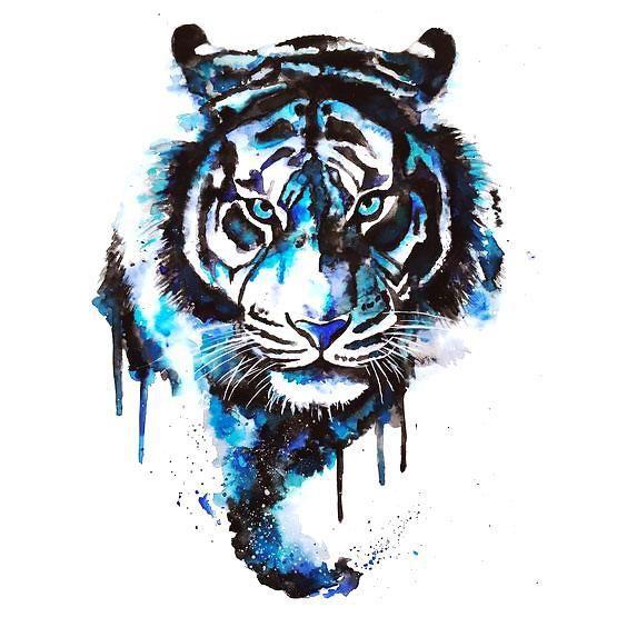 Black And Blue Ink Tiger Head Tattoo Design
