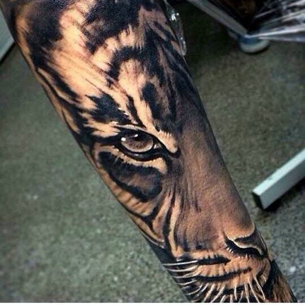 black and grey tiger head tattoo on arm sleeve. Black Bedroom Furniture Sets. Home Design Ideas