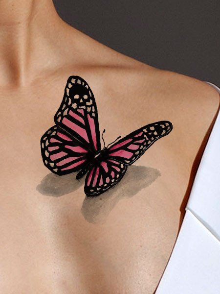 Black And Pink Butterfly Tattoo On Front Shoulder