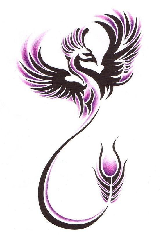 black and pink ink tribal flying phoenix tattoo design. Black Bedroom Furniture Sets. Home Design Ideas