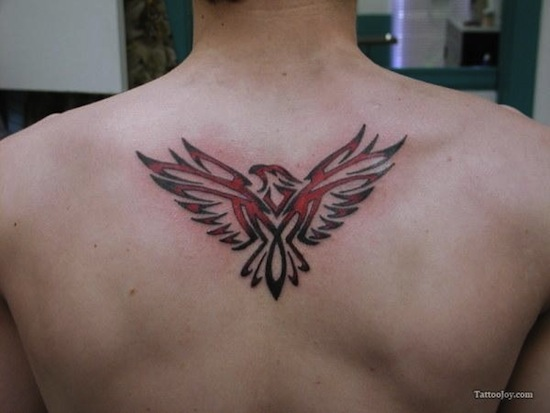 649d05db2 Black And Red Tribal Eagle Tattoo On Upper Back