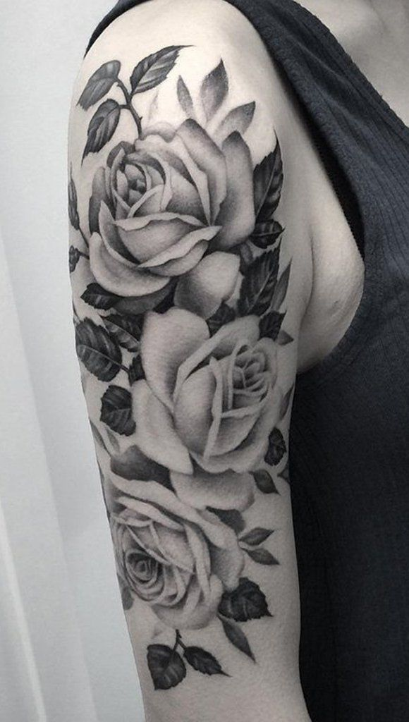 Black And White Roses Tattoo On Right Half Sleeve