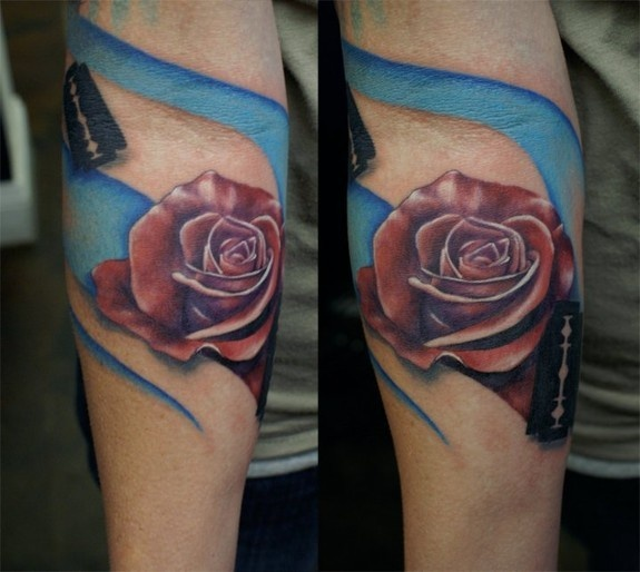 Black Ink Blade And Red Rose Tattoo On Arm Sleeve