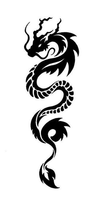 Black Ink Chinese Dragon Tattoo Design