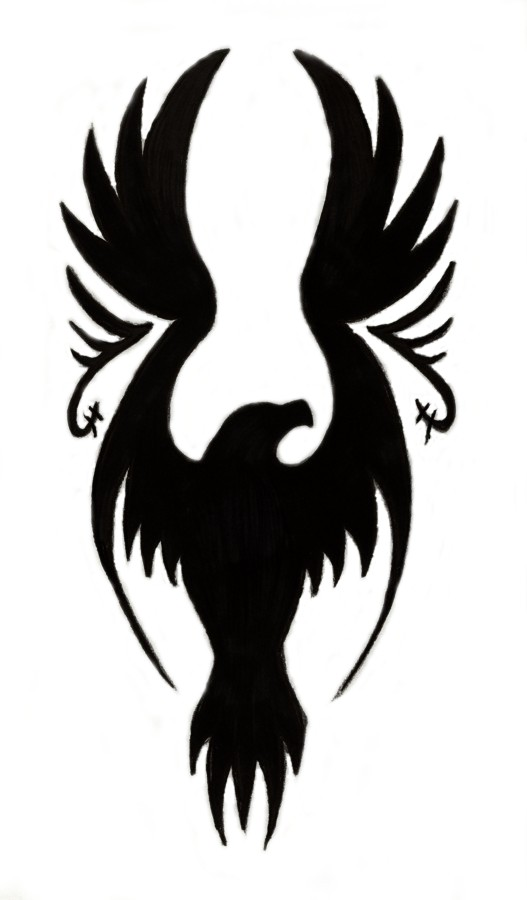 Black Silhoette Flying Eagle Tattoo Design by Sparkycom