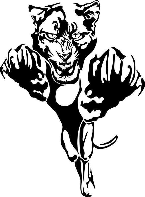 Black White Angry Tiger Attacking Tattoo Design