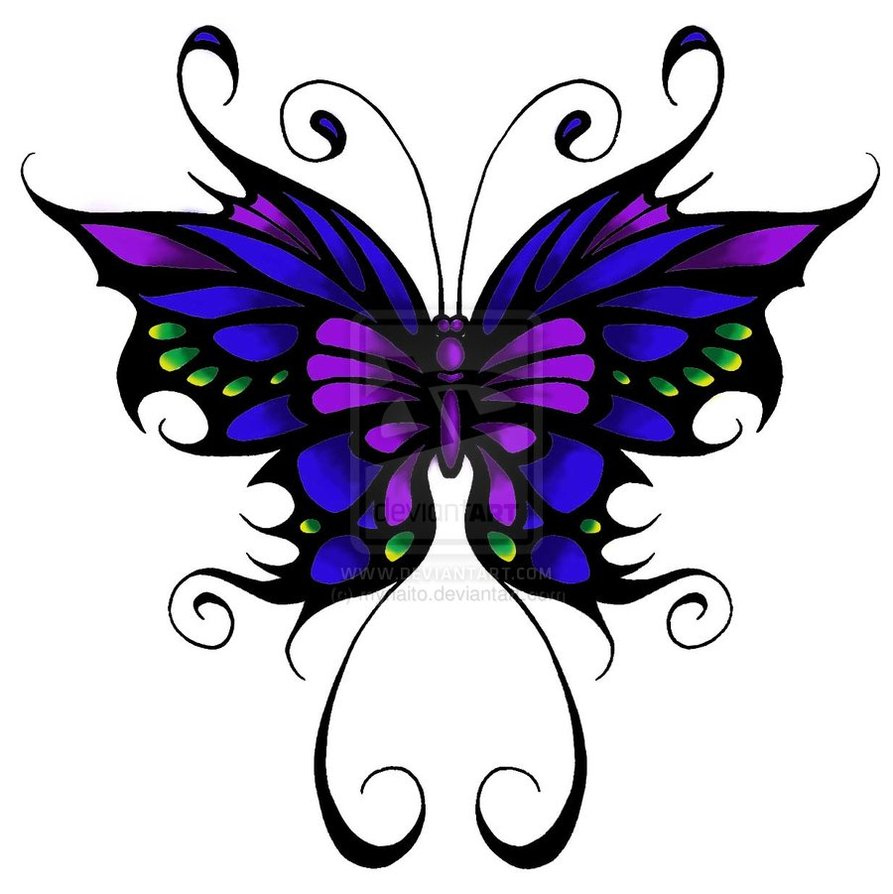 646b97a9a9e7d Blue And Pink Tribal Butterfly Tattoo Design