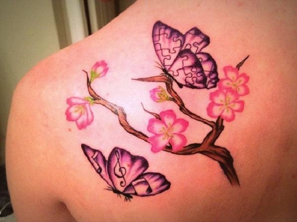 Cherry Blossom Flowers And Butterflies Tattoos On Left Back Shoulder
