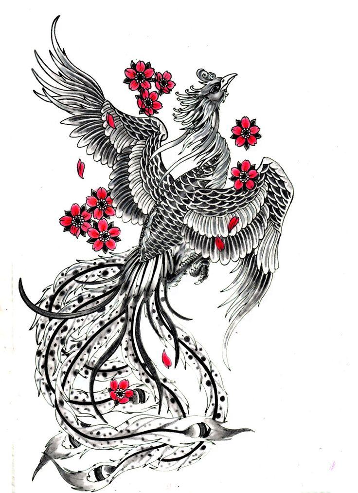 Phoenix And Flowers Tattoo Design