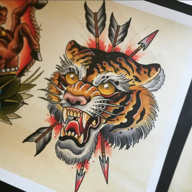 Chinese Tiger Head Pierced With Arrows Tattoo Design