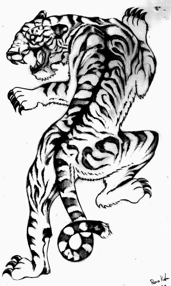 Climbing Tiger Tattoo Design Sample