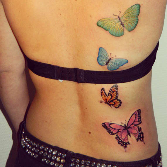Colored Butterflies Tattoos On Full Back