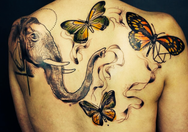 Colored Flying Butterflies And Elephant Head Tattoo On Full Back