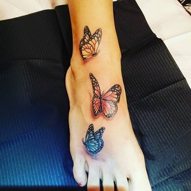 105ba02fc Colored Flying Butterflies Tattoos On Right Foot