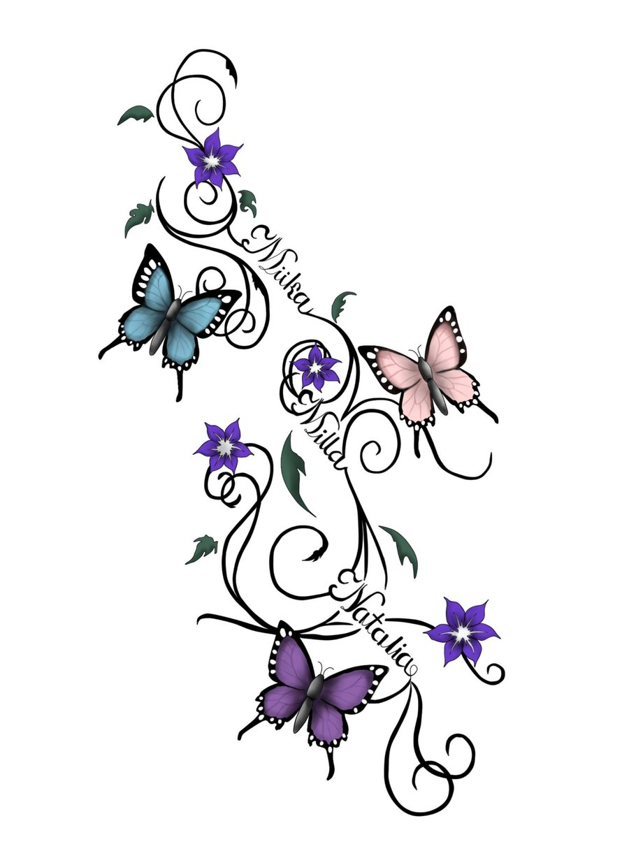 2230410ad8183 Colored Flying Butterflies tattoos Design
