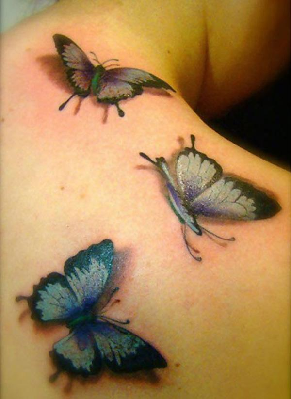 255b93ebe Colored Three Butterflies Tattoos On Right Back Shoulder