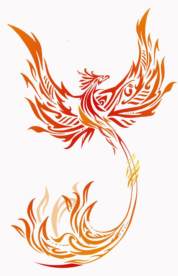 Colorful phoenix tattoo designs - Red And Yellow Tribal Phoenix Tattoo Design