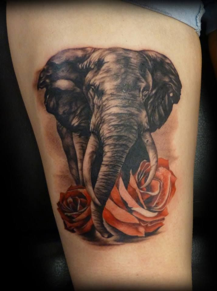 Cool rose flower and elephant tattoo on leg for Cool rose tattoos