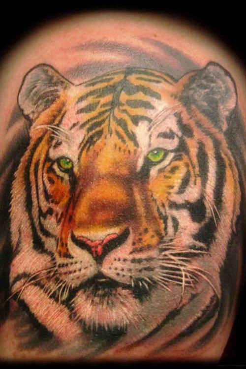 Cute Green Eyes Tiger Head Tattoo