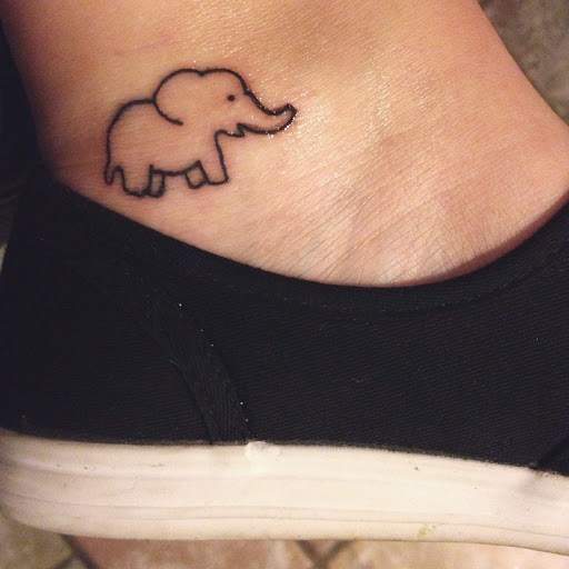 Cute Outline Small Baby Elephant Tattoo On Ankle