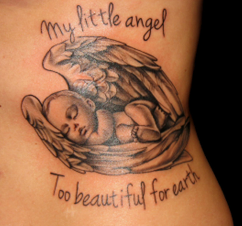 Cute baby sleeping in wings tatoo with wording My Little Angel Too Beautiful For Earth copy