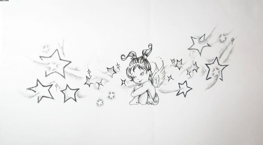 Cute little baby angel with stars tattoo design